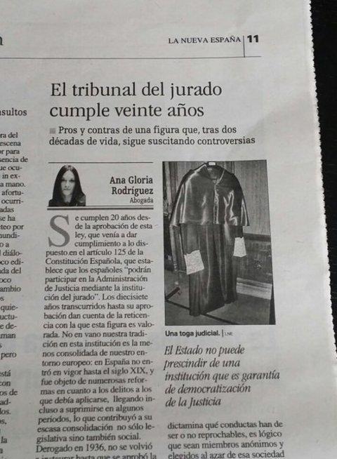 ARTÍCULO DE OPINIÓN DE ANA GLORIA RODRÍGUEZ